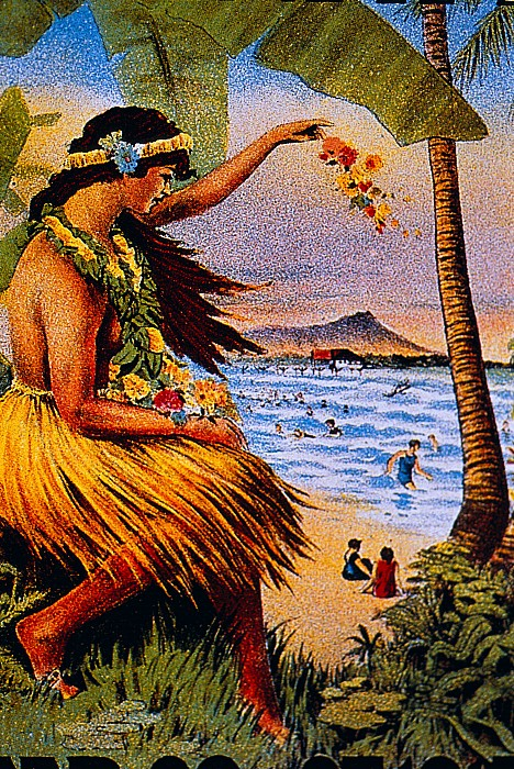 Hula Flower Girl 1915 Painting